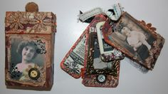 Altered Cigarette box and tags Recycling Projects, Art Projects, Cigarette Box Crafts, Diy Ideas, Craft Ideas, Atc Cards, Handmade Tags, Artist Trading Cards, Small Boxes