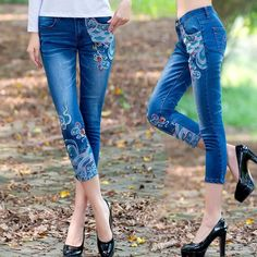 27.18$  Watch here - http://ali39t.shopchina.info/go.php?t=32807575609 - New 2017 Summer Denim Capris Fashion Trousers Female Washed Pencil Pants Vintage Embroidery Women Denim Jeans Pants Y181 27.18$ #magazine