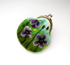 Wet Felted  purple Poppies FLOWER coin purse Ready to Ship with bag frame metal…