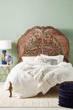 Anthropologie Handcarved Woodland Bed
