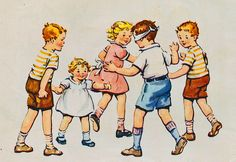 Vintage kids playing tag   via Shelece Flickr [this kind of art was his inspiration]