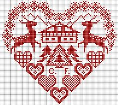 Cross stitch pattern - not too keen on the house in the centre, but was thinking I could adapt to include our surname. Cross Stitching, Cross Stitch Embroidery, Embroidery Patterns, Hand Embroidery, Just Cross Stitch, Cross Stitch Heart, Cross Stitch Designs, Cross Stitch Patterns, Blackbird Designs