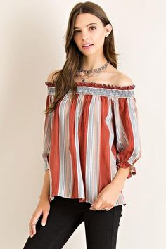 Off -Shoulder Ruffled Top available at Celizzione.com