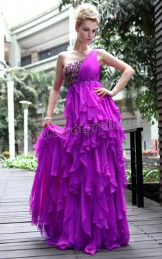 Ruffles One Shoulder Beaded Purple Prom Dress