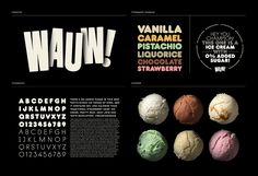 "Packaging and Identity for the Danish ice cream brand Wauw! by Snask Agency. ""We started by naming the brand to Wauw as it's the feeling you get when you eat Ice Cream Packaging, Food Packaging, Dessert Packaging, Food Branding, Branding Ideas, Restaurant Identity, Menu Restaurant, Ice Cream Design, Pistachio Ice Cream"