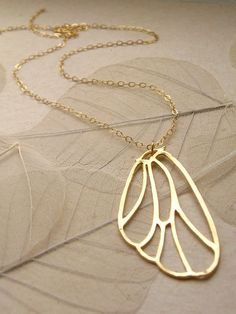 Butterfly Wing Necklace in Gold by simplybybluebird on Etsy, $24.00
