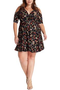 Women's Fashion Trendy Floral Cut Out Shoulder Wrap Kint Flare Dress USA Plus Size -- New and awesome product awaits you, Read it now : Trendy plus size clothing Trendy Plus Size Clothing, Plus Size Dresses, Plus Size Outfits, Trendy Fashion, Womens Fashion, Flare Dress, Wrap Dress, Rompers, Floral