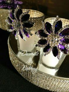 Rhinestone Votive Holder with Brooch Accent Bling Party, Bling Wedding, Crystal Wedding, Purple Wedding, Diy Wedding, Candle Centerpieces, Vases Decor, Wedding Centerpieces, Candles