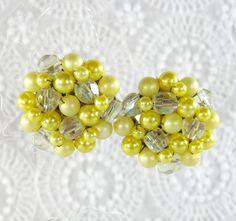 Vintage Bead Cluster Earrings, Yellow Imitation Pearls, Clear Glass Crystals, Clip-ons, JAPAN, 1950s 1960s Mad Men Jewelry by TheGildedSwan, $12.00
