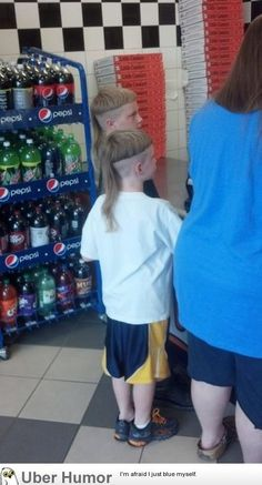"- ""Bowl cut + mullet = …bullet?""  Who does this to their kid?!"