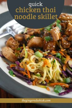 This quick and easy chicken skillet meal is infused with thai flavors and lots of veggies - including zoodles! The whole family will love it! Easy Thai Recipes, Yummy Chicken Recipes, Yum Yum Chicken, Easy Skillet Meals, Skillet Chicken, Quick Meals, Tom Yum Soup, Healthy Family Dinners, Fusion Food