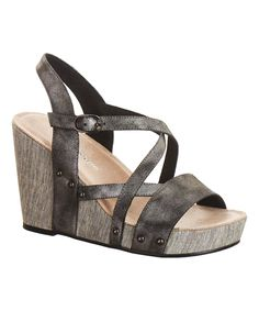 Black Shimmer Leather Wedge Sandal by Antelope #zulily #zulilyfinds