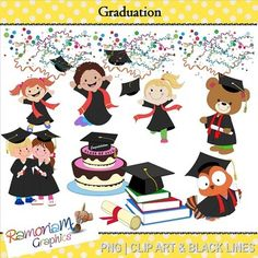27 End of year - graduation PNG images, 300dpi in Black & White, colored with colored outlines and colored with black outlines $