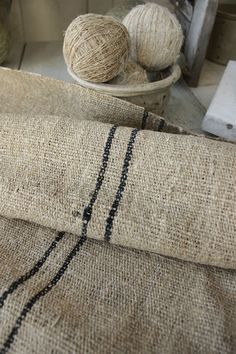 ❤︎   rustic black striped antique homespun hemp  -   www.textiletrunk.com