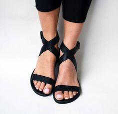 Nero sandali ' Rio '  Sandali di cuoio nero genuini