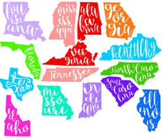 Cursive State Decal Colorful State Decal by VictoriasMonograms Cricut Air, Cricut Vinyl, Vinyl Decals, Wall Stickers, Wall Decals, Wall Art, Silhouette Cameo Projects, Silhouette Design, Vinyl Crafts