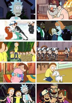 Gravity Falls - Rick and Morty - Parallels - Morty Smith - Rick Sanchez - Summer Smith - Dipper Pines - Mabel Pines - Stan Pines - Cartoons