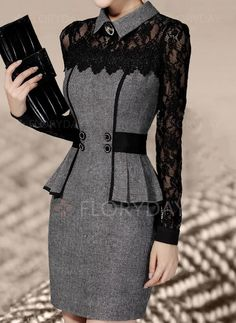 Lace Long Sleeves Bodycon Above Knee Casual/Elegant Dresses Elegant Dresses, Casual Dresses, Fashion Dresses, Sexy Dresses, Club Party Dresses, Mode Inspiration, Gray Dress, Beautiful Outfits, Dresses Online
