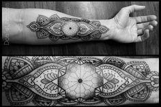 geometric blackwork tattoos | Blackwork forearm paisley and geometric tattoo