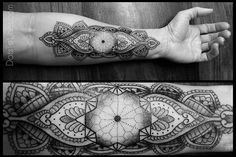 geometric blackwork tattoos | Blackwork forearm paisley and geometric tattoo