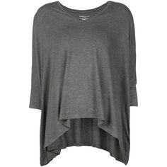 Majestic Filatures V neck swing blouse (€195) ❤ liked on Polyvore featuring tops, blouses, grey, grey top, v neck blouse, grey blouse, gray top and v-neck tops