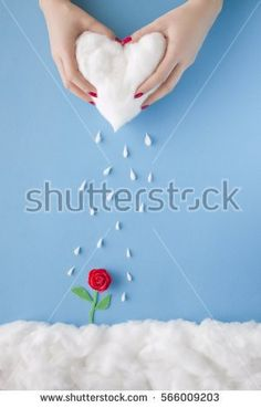 Two hands squeezing rain from a heart cloud over a handmade flower, in a heavenly scenery with clouds made of cotton-wool, on a blue sky paper background.