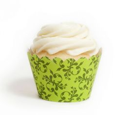 Green Festive Filigree Cupcake Wrappers BULK (12 Wraps) [DMC Buy Green Filigree Wrappers] : Wholesale Wedding Supplies, Discount Wedding Favors, Party Favors, and Bulk Event Supplies