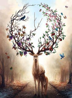 Seasons Change - Signed Art Print - Fantasy Deer Painting - Spring Summer Fall Winter - by Jonas Jödicke Mythical Creatures Art, Fantasy Creatures, Cute Animal Drawings, Cute Drawings, Deer Art, Diamond Art, Fantasy Artwork, Fantasy Paintings, Deer Paintings