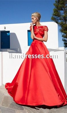 http://www.ikmdresses.com/2016-Red-Prom-Dresses-Lace-Scoop-Neckline-Sweep-Train-Long-Evening-Dresses-Satin-2016-Formal-Dresses-Party-Gowns-p92400