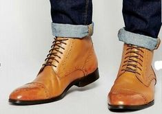 Handmade Custom Men Casual Tan Boots, ankle high Mens Stylish genuine Leather boots sold by Shop more products from on Storenvy, the home of independent small businesses all over the world. Tan Leather Boots, Tan Ankle Boots, Ankle Shoes, Leather Men, Soft Leather, Men's Boots, Shoes Men, Leather Jackets, Muck Boots