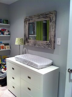 Love this...dresser with a pad, and the rustic mirror.. LOVE THIS!
