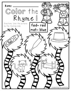 Printables Cat In The Hat Worksheets dr seuss activities free cat in the hat color by number mat no prep rhyming worksheets free