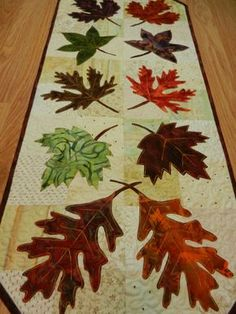 Fall Table Runner, Fall Leaf Table Runner, Batik Fabric Table Runner 14 x 34 Batik Quilts, Fall Quilts, Flannel Quilts, Table Runner And Placemats, Quilted Table Runners, Place Mats Quilted, Quilted Table Toppers, Halloween Quilts, Leaf Table