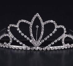 Shiny Rhinestone Girl Wedding Prom Tiara Crown Headband for Decoration