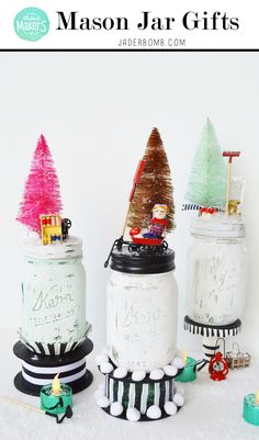 Mason Jar Christmas Gifts using objects from the craft store and Americana Decor Chalky Finish.