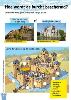 Hoe wordt de burcht beschermd? @keireeen Biology For Kids, Castle Crafts, Dutch Language, Teaching History, Medieval Castle, Sociology, Romans, Knight, Scenery