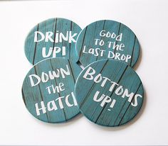 Drink Coasters, Rustic Decor, Coasters, Hostess Gift, Tableware, Barware, Cottage Chic, Drink up, Bottoms up, funny drink coasters (5754) by KellysMagnets on Etsy