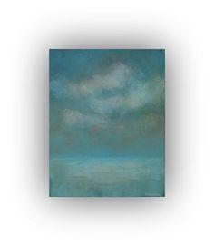 Paisaje abstracto azul  pintura al óleo  por traceynicholas en Etsy, $80.00