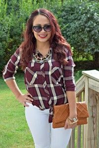 Plaid and white jeans