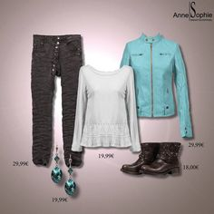 """Casual chic 2015 Turquoise. Leather looking jacket with matching earrings and naillpollish. Anne-Sophie SMARTSHOPPING offers a feminine ready-to-wear """"Casual Chic"""" collection for a year-round feminine look."""