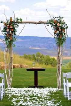 wedding arch, just add ribbons You could also hang mason jars with flowers