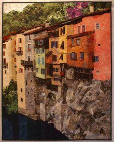 Pont en Royans 2007, an art quilt by Lenore Crawford