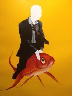 "Xevi Villaro ""Born to Fly Series"" Acrylic on Canvas- Original 37 x 30"