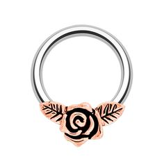 www.throwbackannie.com body jewellery, amazing septum piercing perfect for any piercing completely universal. It is in a gorgeous rose gold against a silver ring. septum rings as seen on celebrities such as scarlett johansson and jessica Biel. Perfect for the festival season. A MUST HAVE piece of body jewellery. For Throwbackannies range of septum clickers and nose rings visit the site above to get all your festival must haves and every body jewellery you desire.