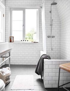 Kakel, Bauhaus. Duschset, Tapwell. Grå handduk, Ikea. Handfat, Ikea. Textil förvaring, H&M home. Parfymer, Byredo. Ställningen under tvättstället är tillverkad av rörkopplingar som annars används till att bygga arbetsställningar.