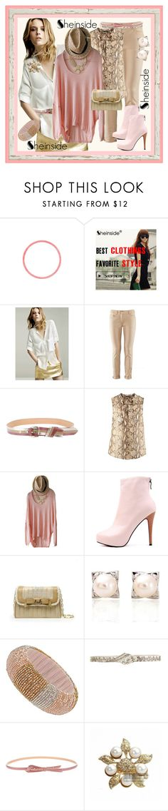 """She inside"" by halebugg ❤ liked on Polyvore featuring Schumacher, Dorothy Perkins, JLynch, AMANTES AMENTES, skinny jeans, peach bracelet, sheinside, lace collar, chiffon blouse and pink boots"