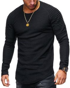 2018 New Fashion Men's Round Neck Slim Solid Color Long-sleeved T-shirt Striped Fold Raglan Sleeve Style T shirt Men Tops Tees T Shirts, Casual Shirts, Long Sleeve Shirts, Casual Clothes, Mens Tees, Shirt Men, Jogging, Online Shopping, Men Sweater