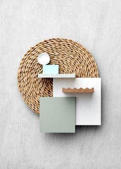 Loving the coastal tones and textures in this coastal flatlay. By Laminex Kitchen Color Palettes, Coastal Color Palettes, Coastal Colors, Coastal Style, Coastal Decor, Coastal Interior, Urban Interior Design, Mood Board Interior, Design Palette