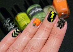 Sassy Shelly: Nails and Attitude: Digit-al Dozen DOES Skittles ~ Day 5: Glow-in-the-dark Halloween Nails