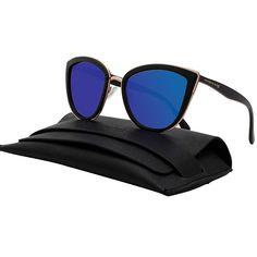 4289705416e7 Women s Blue Mirrored Cateye Sunglasses Oversize Polarized Shades P1891A  Blue